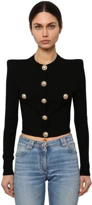 Balmain Cropped Viscose Blend Knit Jacket