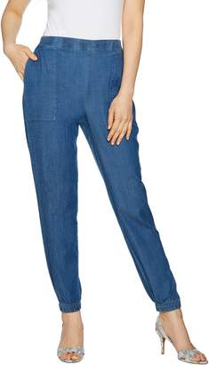 Halston H By H by Petite Stretch Chambray Jogger Pants