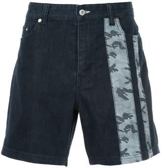 Loveless camouflage print denim shorts
