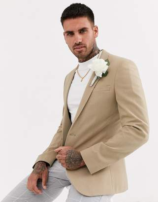 Asos Design DESIGN wedding super skinny blazer in camel tonal check