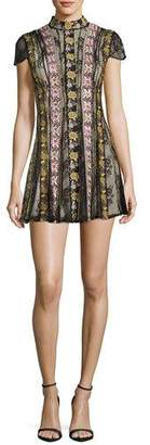 Alice + Olivia Gwyneth Mock-Neck Floral-Embroidered Cocktail Dress