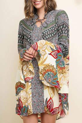 Umgee USA Bell-Sleeve Paisley Dress