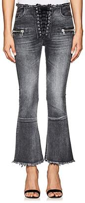 Taverniti So Ben Unravel Project Women's Lace-Up Crop Flared Jeans