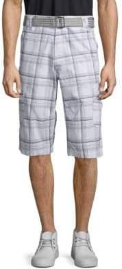 ProjekRaw Plaid Cotton Cargo Shorts