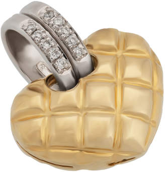 Chimento 18k Gold Quilted Heart Pendant, 0.04tcw