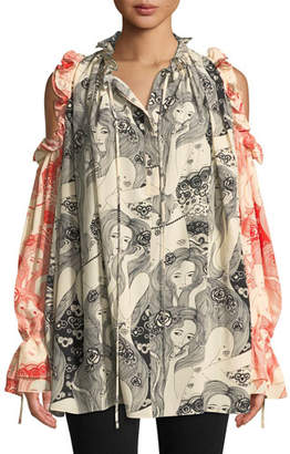 Alexander McQueen Eve-Print Tie-Neck Cold-Shoulder Bicolor Silk Peasant Blouse