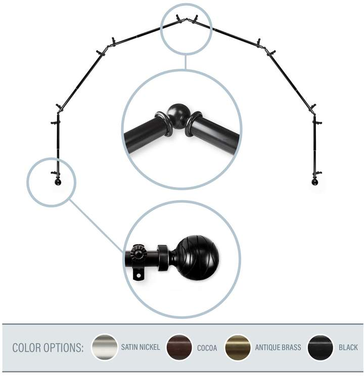 Arman Black 6-Sided Bay Window Curtain Rod