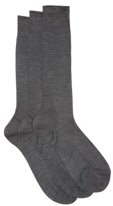 Raey - Set Of Three Silk Socks - Mens - Charcoal