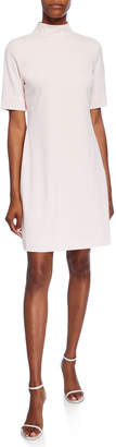 Karl Lagerfeld Paris Heat Set Pearlescent Mock-Neck Shift Dress