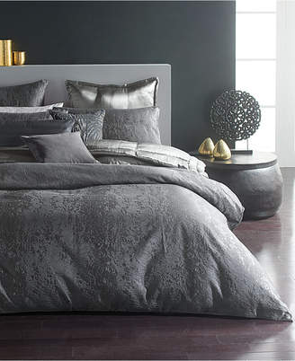 Donna Karan Home Moonscape Reversible Textured Jacquard Charcoal King Duvet Cover Bedding