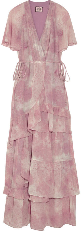 Juicy Couture Tiered silk-chiffon maxi dress