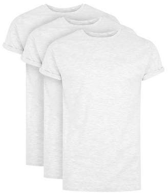 Topman Mens Grey Gray Muscle Fit Roller T-Shirt 3 Pack*