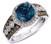LeVian Le Vian Blue Topaz Ring with Diamonds in 14K Vanilla Gold