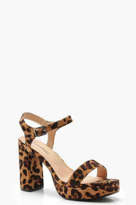 boohoo Wide Fit Leopard Two Part Platform Heels