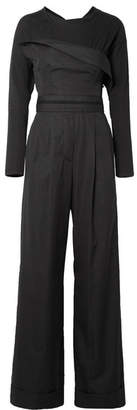 Alexander Wang Layered Cotton-poplin And Jersey Jumpsuit - Black