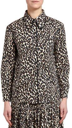 Double J Leopard-Print Cotton Blouse