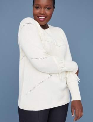 Lane Bryant Fringe Crew-Neck Sweater