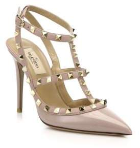 Valentino Patent Leather Rockstud Ankle-Strap Sandals