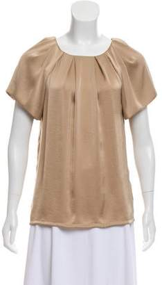 L'Agence Pleated Short Sleeve Blouse