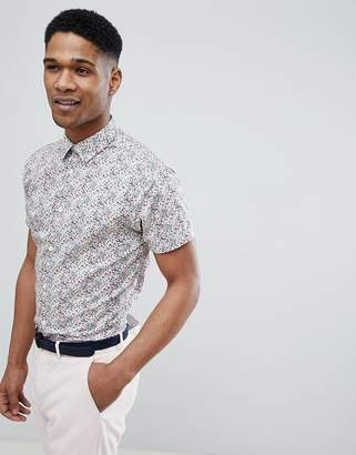 Selected Short Sleeve Shirt With All Over Ditsy Print