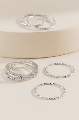 francesca's Carrie Silver Ring Set - Silver