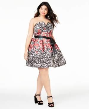 Teeze Me Trendy Plus Size Mixed-Print Strapless Dress