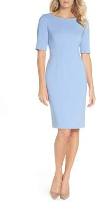 Eliza J Bateau Neck Crepe Sheath Dress
