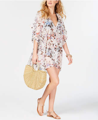 DKNY Floral Chiffon Caftan Cover-Up