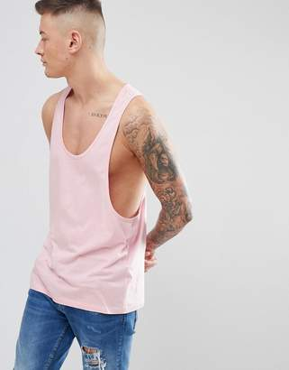 Asos Design Vest With Extreme Racer Back In Pink
