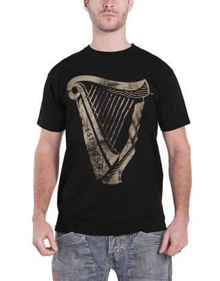 Guinness Merch T Shirt Distressed Harp Logo New Official Mens