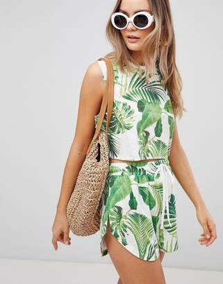Asos DESIGN tropical leaf print two-piece jersey beach crop top