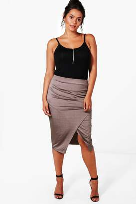 boohoo Plus Darcy Slinky Ruched Wrap Midi Skirt