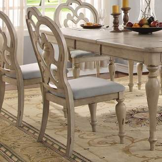 ACME Furniture ACME Abelin Side Chair, Fabric & Antique White (Set of 2)