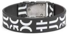 HUGO Boss Buckle-closure bracelet in Italian leather cropped logo One Size Black