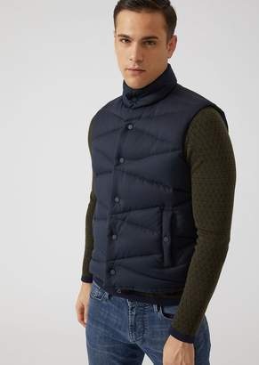 Emporio Armani Sleeveless Fabric Jacket With Diagonal Stitching
