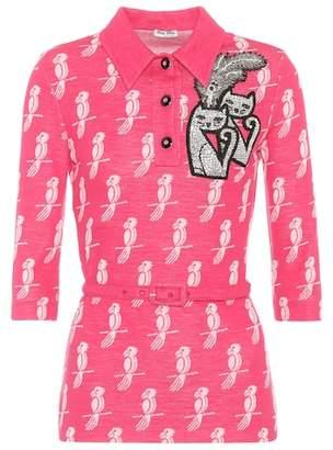 Miu Miu Embellished wool-blend blouse
