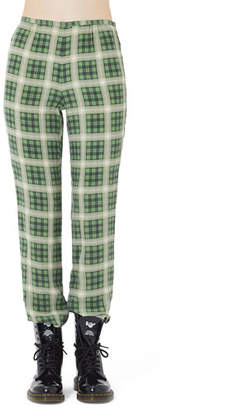 Marc Jacobs Washed Silk Plaid Pants