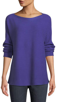 Eileen Fisher Bateau-Neck Ribbed Cotton-Silk Blend Sweater