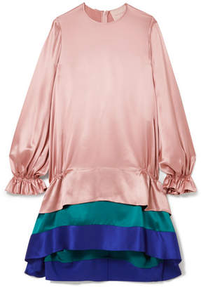 Roksanda Color-block Tiered Silk-satin Dress - Pastel pink