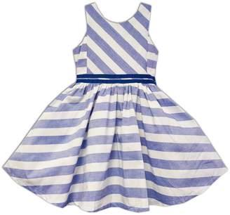Joe-Ella Striped Chambray Dress with Double Waistband (Little Girls & Big Girls)