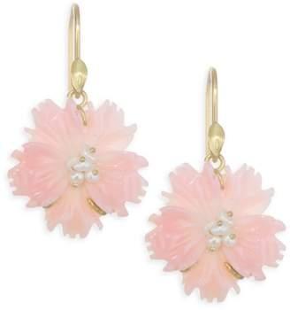 Annette Ferdinandsen Flora Pink Conch Shell Flower Drop Earrings