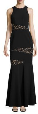 BCBGMAXAZRIA Asymmetrical Lace Inset Gown $338 thestylecure.com