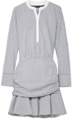 Veronica Beard Everett Ruched Striped Cotton-poplin Mini Dress - Blue