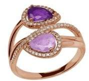 Lord & Taylor 0.22K Diamond, Amethyst and 14K Rose Gold Ring