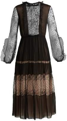 Giambattista Valli Bow Embellished Lace And Silk Midi Dress - Womens - Black