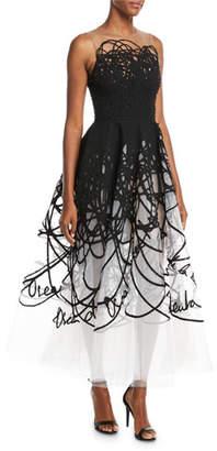 Oscar de la Renta Illusion Scribble Tulle Midi Gown