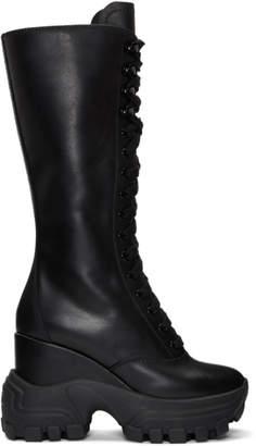 Miu Miu Black Lace-Up Wedge Sneaker Boots