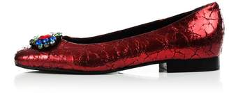 Kim Kwang - Cracked Metallic Diamante Ballerinas Red