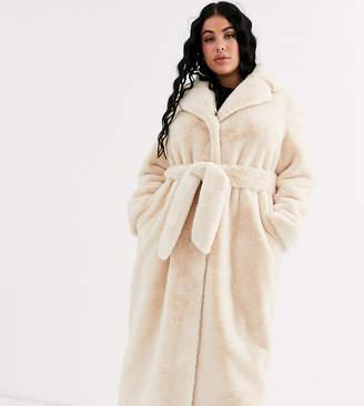 Asos DESIGN Curve plush faux fur longline maxi with belt in cream