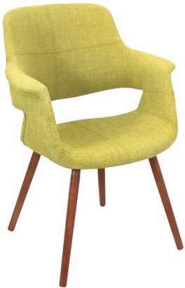 Lumisource Vintage Flair Mid-Century Modern Chair in Walnut and Green